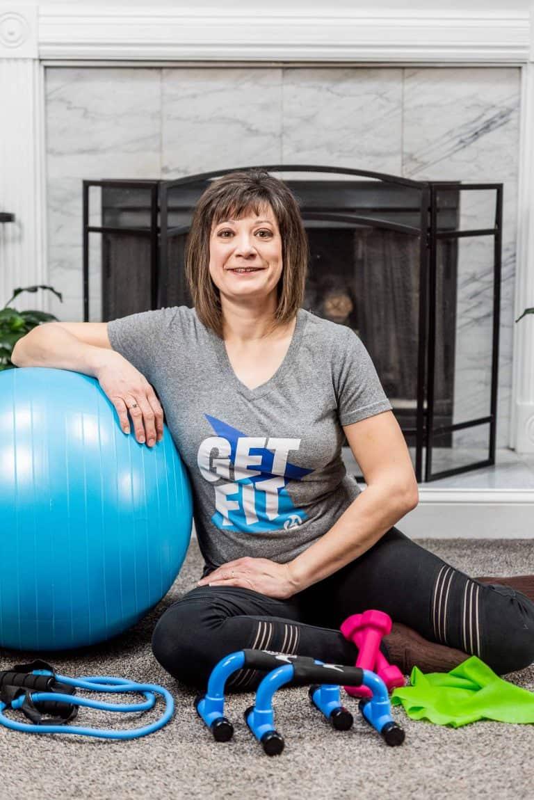 Michelle Dallacheisa with gym equipment